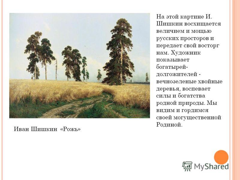 На этой картине И. Шишкин восхищается величием и мощью русских просторов и передает свой восторг нам. Художник показывает богатырей- долгожителей - вечнозеленые хвойные деревья, воспевает силы и богатства родной природы. Мы видим и гордимся своей мог