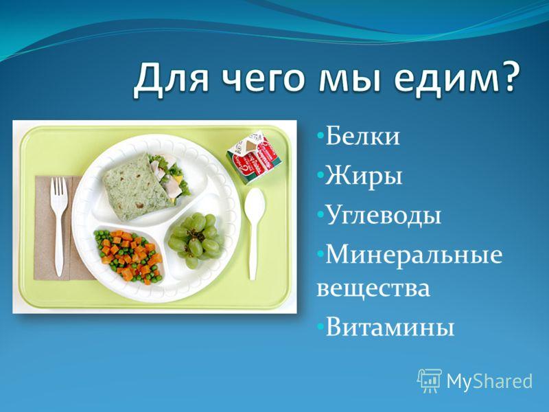 Белки Жиры Углеводы Минеральные вещества Витамины