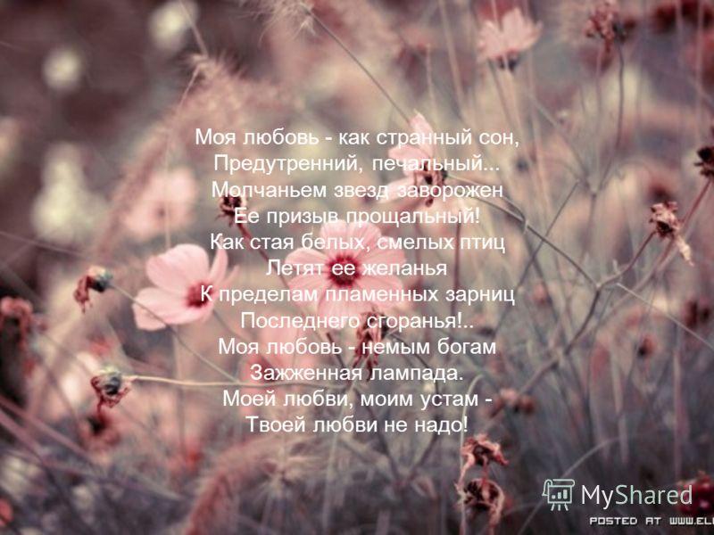 Моя любовь - как странный сон, Предутренний, печальный... Молчаньем звезд заворожен Ее призыв прощальный! Как стая белых, смелых птиц Летят ее желанья К пределам пламенных зарниц Последнего сгоранья!.. Моя любовь - немым богам Зажженная лампада. Моей