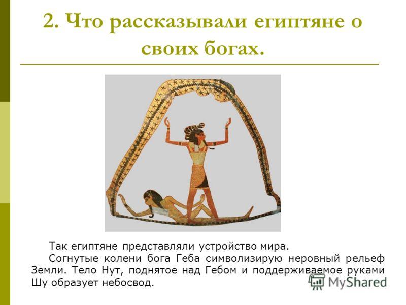 2. Что рассказывали египтяне о своих богах. Так египтяне представляли устройство мира. Согнутые колени бога Геба символизирую неровный рельеф Земли. Тело Нут, поднятое над Гебом и поддерживаемое руками Шу образует небосвод.