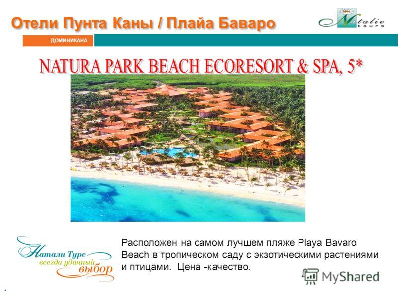 ДОМИНИКАНА Отели Пунта Каны / Плайа Баваро. Расположен на самом лучшем пляже Playa Bavaro Beach в тропическом саду с экзотическими растениями и птицами. Цена -качество.