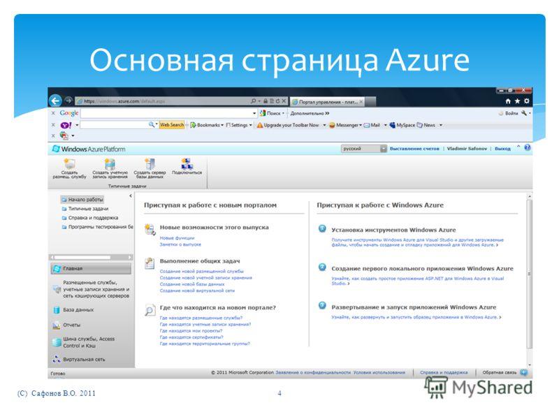 (C) Сафонов В.О. 20114 Основная страница Azure