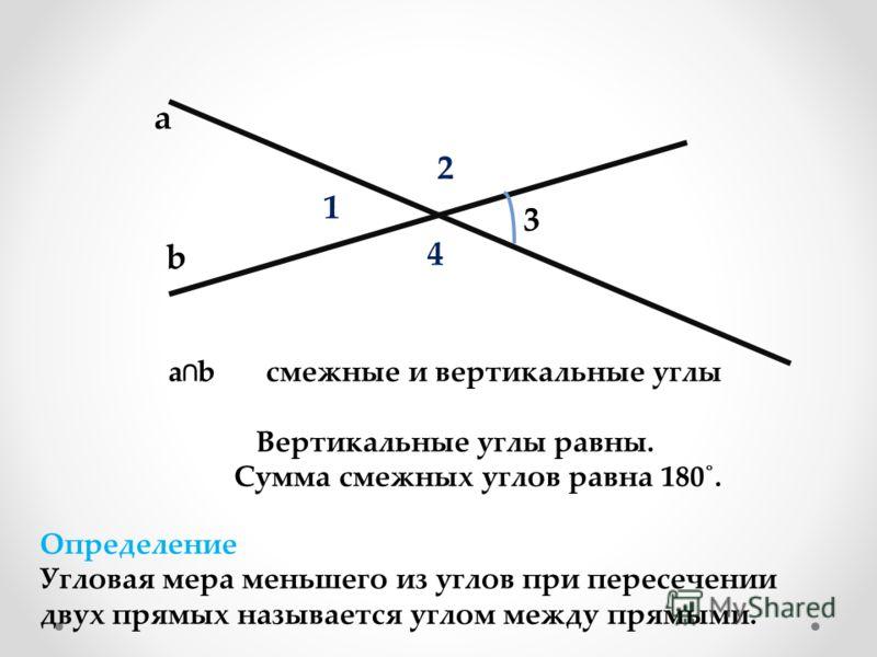 а b 1 2 3 4 ab смежные и вертикальные углы Вертикальные углы равны. Сумма смежных углов равна 180˚. Определение Угловая мера меньшего из углов при пересечении двух прямых называется углом между прямыми.
