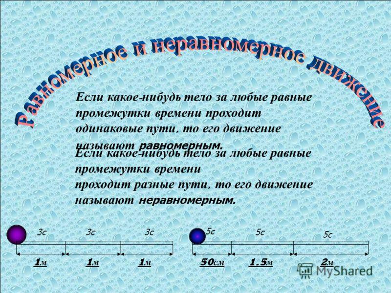 Если к акое - нибудь т ело з а л юбые р авные промежутки в ремени п роходит одинаковые п ути, т о е го д вижение называют равномерным. 1 м 1 м 1 м 3с 50 см 1.5 м 2 м 5с Если к акое - нибудь т ело з а л юбые р авные промежутки в ремени проходит р азны