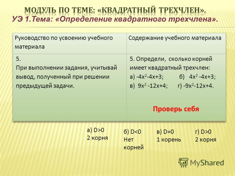 УЭ 1.Тема: «Определение квадратного трехчлена». Проверь себя а) D>0 2 корня г) D>0 2 корня в) D=0 1 корень б) D