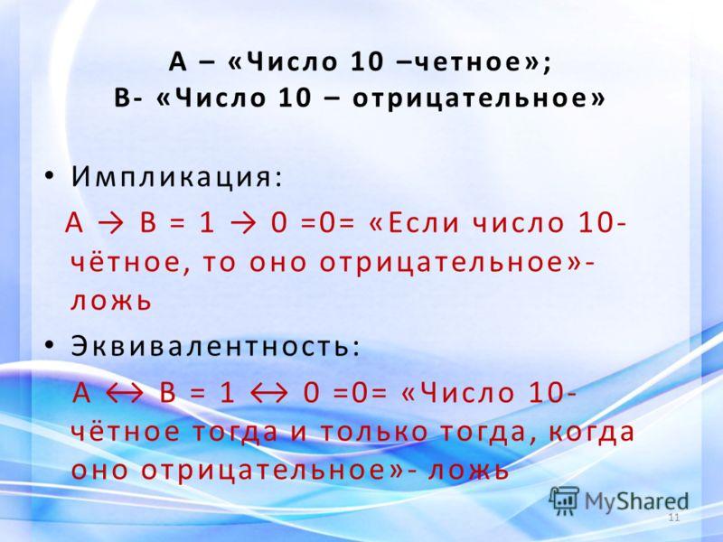 А – «Число 10 –четное»; В- «Число 10 – отрицательное» Импликация: А В = 1 0 =0= «Если число 10- чётное, то оно отрицательное»- ложь Эквивалентность: А В = 1 0 =0= «Число 10- чётное тогда и только тогда, когда оно отрицательное»- ложь 11
