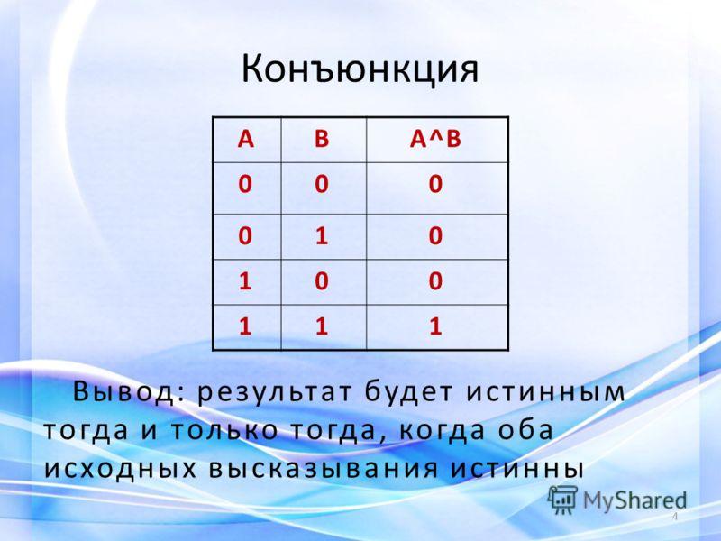Конъюнкция Вывод: результат будет истинным тогда и только тогда, когда оба исходных высказывания истинны 4 АВА^В 000 010 100 111