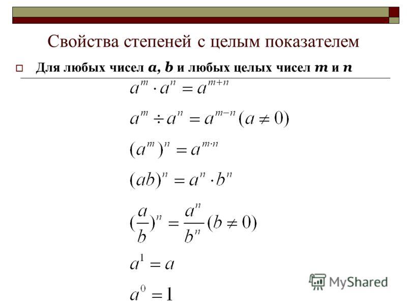 Свойства степеней с целым показателем Для любых чисел a, b и любых целых чисел m и n
