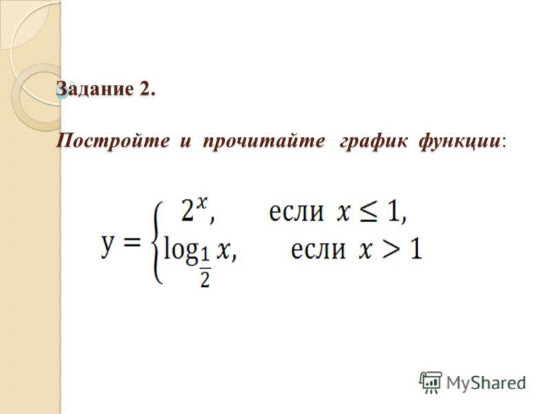Задание 2. Постройте и прочитайте график функции: