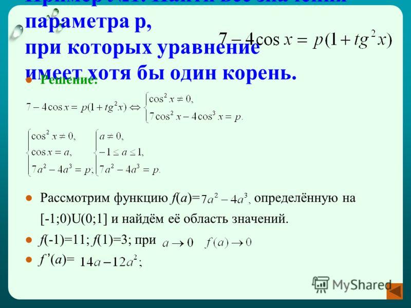 Пример 1. Найти все значения параметра p, при которых уравнение имеет хотя бы один корень. Решение: Рассмотрим функцию f(a)= определённую на [-1;0)U(0;1] и найдём её область значений. f(-1)=11; f(1)=3; при f (a)=