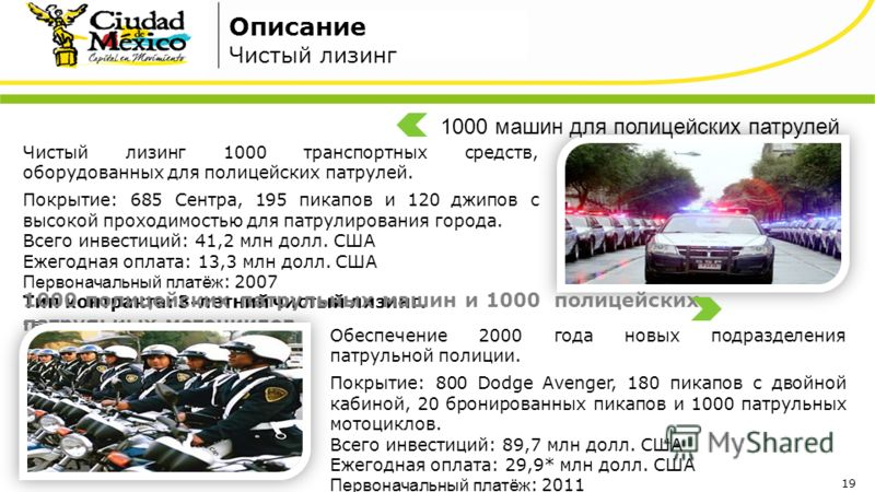 Чистый лизинг 1000 транспортных средств, оборудованных для полицейских патрулей. Покрытие: 685 Сентра, 195 пикапов и 120 джипов с высокой проходимостью для патрулирования города. Всего инвестиций: 41,2 млн долл. США Ежегодная оплата: 13,3 млн долл. С