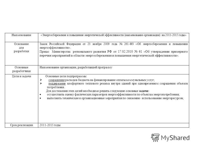 Наименование«Энергосбережение и повышение энергетической эффективности (наименование организации) на 2011-2015 годы» Основание для разработки Закон Российской Федерации от 23 ноября 2009 года 261-ФЗ «Об энергосбережении и повышении энергоэффективност