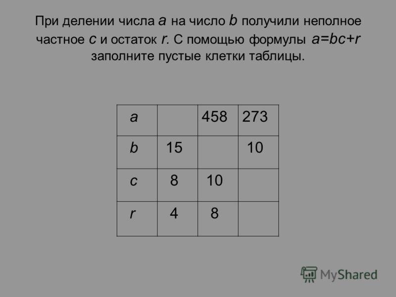 При делении числа a на число b получили неполное частное с и остаток r. С помощью формулы a=bc+r заполните пустые клетки таблицы. а458273 b 15 10 c 8 r 4 8