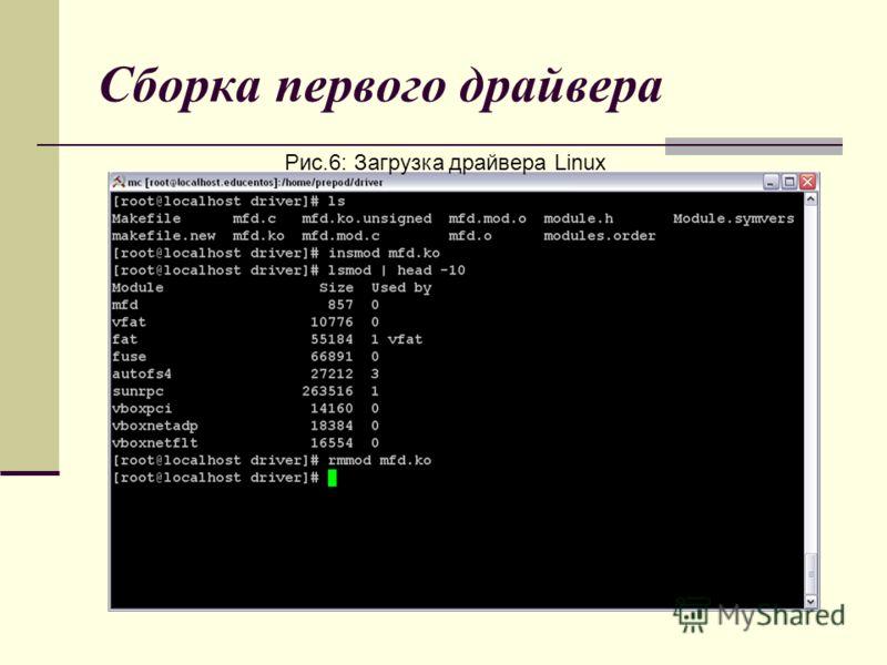Сборка первого драйвера Рис.6: Загрузка драйвера Linux