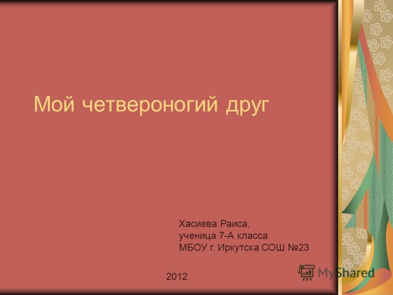 Мой четвероногий друг Хасиева Раиса, ученица 7-А класса МБОУ г. Иркутска СОШ 23 2012