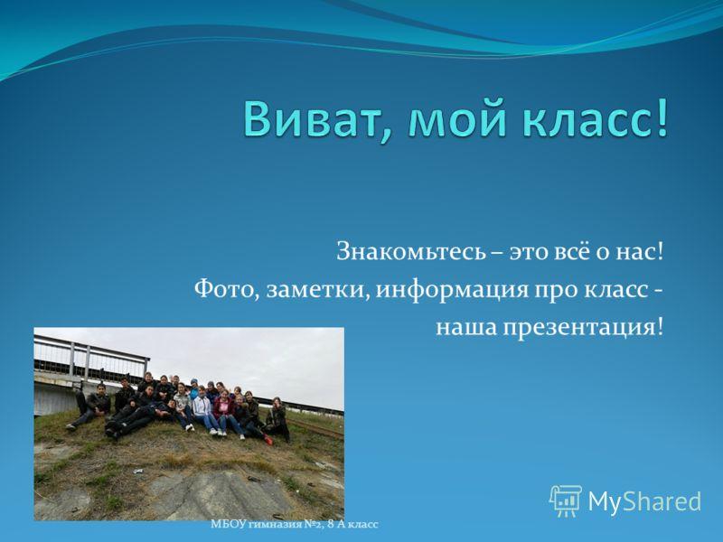 Знакомьтесь – это всё о нас! Фото, заметки, информация про класс - наша презентация! МБОУ гимназия 2, 8 А класс