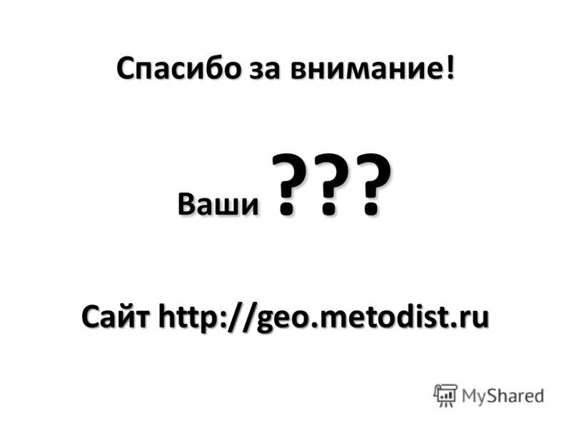 Спасибо за внимание! Ваши ??? Сайт http://geo.metodist.ru