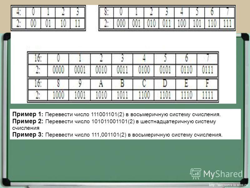 Пример 1 : Перевести число 111001101(2) в восьмеричную систему счисления. Пример 2: Перевести число 101011001101(2) в шестнадцатеричную систему счисления Пример 3: Перевести число 111,001101(2) в восьмеричную систему счисления.