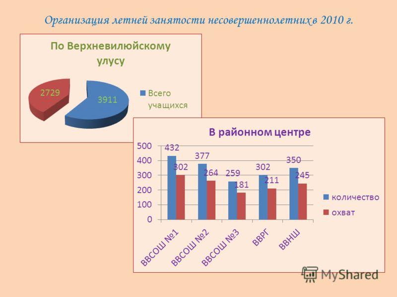 Организация летней занятости несовершеннолетних в 2010 г.