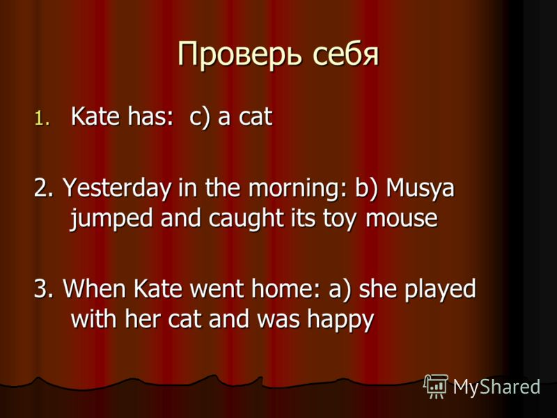 Проверь себя 1. Kate has: c) a cat 2. Yesterday in the morning: b) Musya jumped and caught its toy mouse 3. When Kate went home: a) she played with her cat and was happy