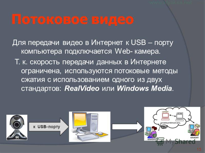 13 к USB- порту Потоковое видео Для передачи видео в Интернет к USB – порту компьютера подключается Web- камера. Т. к. скорость передачи данных в Интернете ограничена, используются потоковые методы сжатия с использованием одного из двух стандартов: R