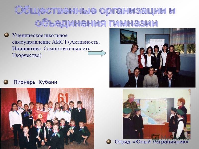 Ученическое школьное самоуправление АИСТ (Активность, Инициатива, Самостоятельность, Творчество) Пионеры Кубани Отряд «Юный пограничник»