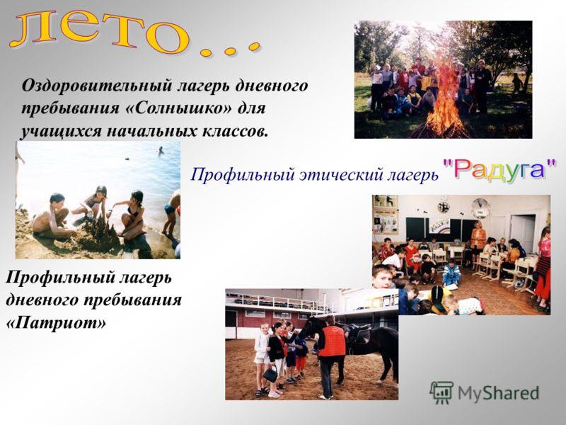 Профильный этический лагерь Оздоровительный лагерь дневного пребывания «Солнышко» для учащихся начальных классов. Профильный лагерь дневного пребывания «Патриот»