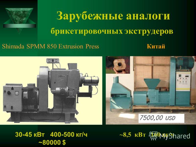 Зарубежные аналоги брикетировочных экструдеров Shimada SPMM 850 Extrusion Press 30-45 кВт 400-500 кг/ч ~80000 $ Китай ~8,5 кВт 160 кг/ч