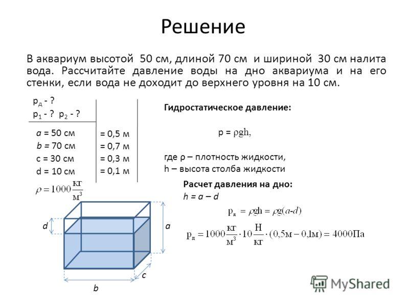 Решение В аквариум высотой 50 см, длиной 70 см и шириной 30 см налита вода. Рассчитайте давление воды на дно аквариума и на его стенки, если вода не доходит до верхнего уровня на 10 см. а b c d Гидростатическое давление: p = ρgh, где ρ – плотность жи