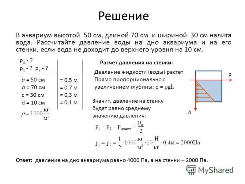 Решение В аквариум высотой 50 см, длиной 70 см и шириной 30 см налита вода. Рассчитайте давление воды на дно аквариума и на его стенки, если вода не доходит до верхнего уровня на 10 см. b = 70 см a = 50 см с = 30 см d = 10 см p д - ? p 1 - ? p 2 - ?