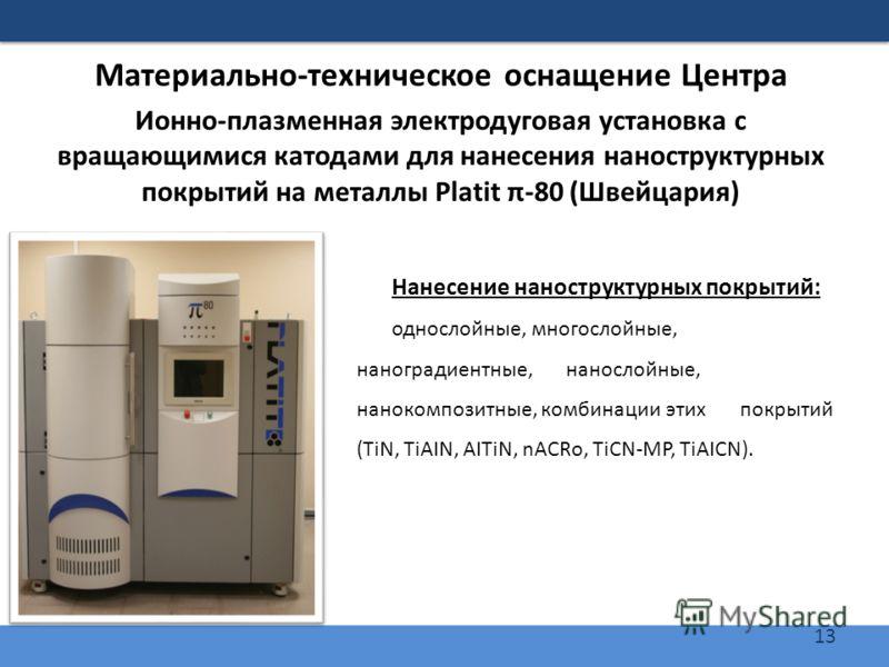 13 Материально-техническое оснащение Центра Нанесение наноструктурных покрытий: однослойные, многослойные, наноградиентные, нанослойные, нанокомпозитные, комбинации этих покрытий (TiN, TiAIN, AITiN, nACRo, TiCN-MP, TiAICN). Ионно-плазменная электроду