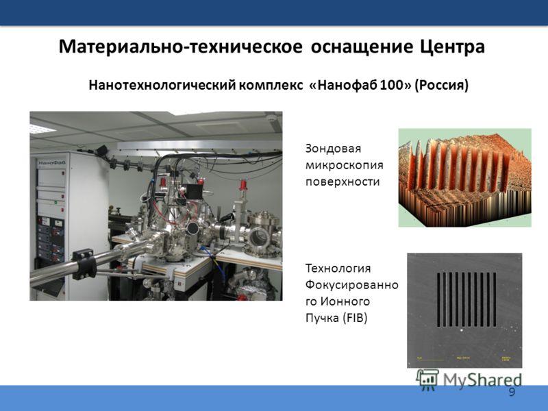 9 Материально-техническое оснащение Центра Нанотехнологический комплекс «Нанофаб 100» (Россия) Зондовая микроскопия поверхности Технология Фокусированно го Ионного Пучка (FIB)