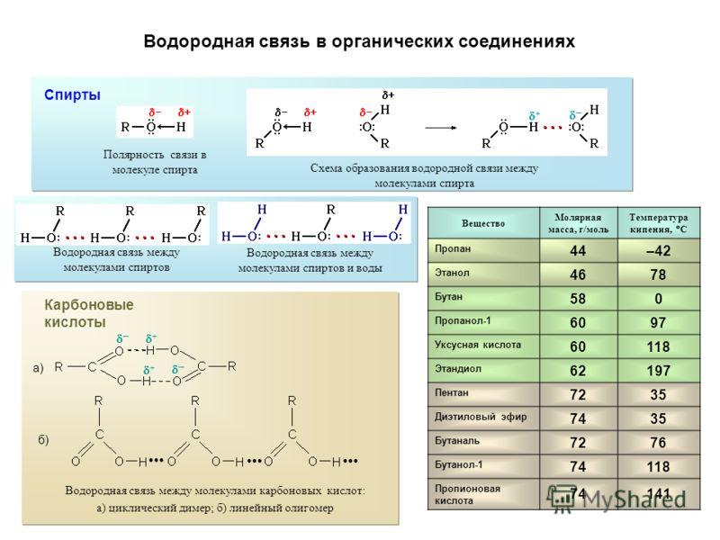 Водородная связь в органических соединениях Спирты Полярность связи в молекуле спирта Схема образования водородной связи между молекулами спирта Водородная связь между молекулами спиртов Водородная связь между молекулами спиртов и воды Карбоновые кис