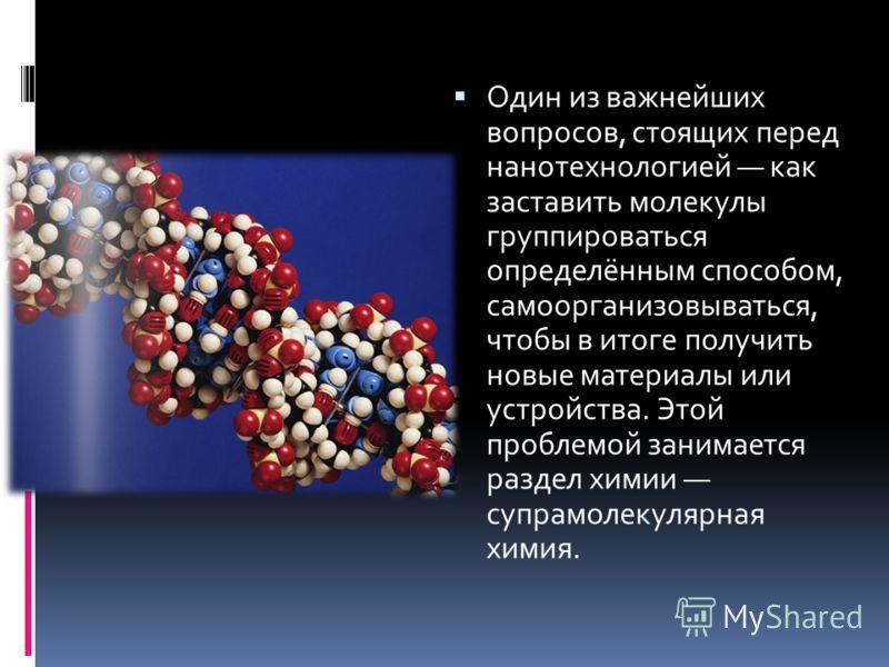 Один из важнейших вопросов, стоящих перед нанотехнологией как заставить молекулы группироваться определённым способом, самоорганизовываться, чтобы в итоге получить новые материалы или устройства. Этой проблемой занимается раздел химии супрамолекулярн