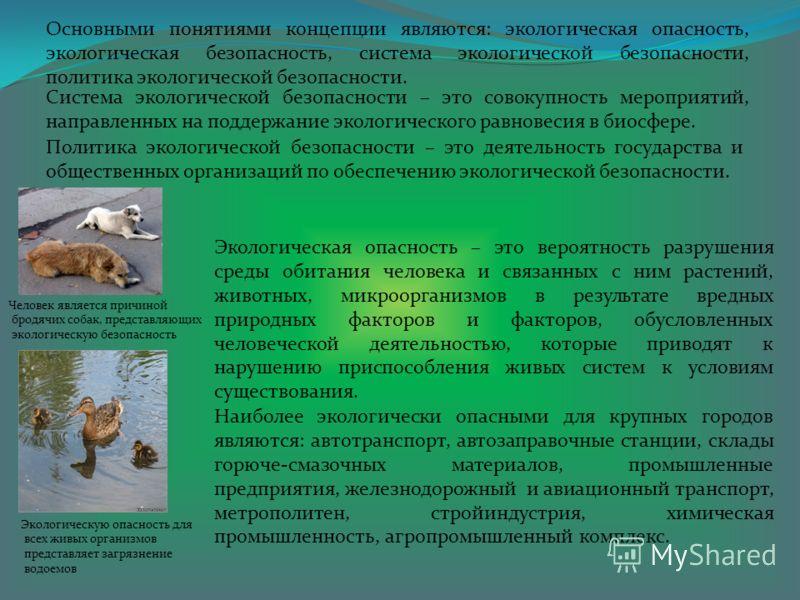 Основными понятиями концепции являются: экологическая опасность, экологическая безопасность, система экологической безопасности, политика экологической безопасности. Система экологической безопасности – это совокупность мероприятий, направленных на п