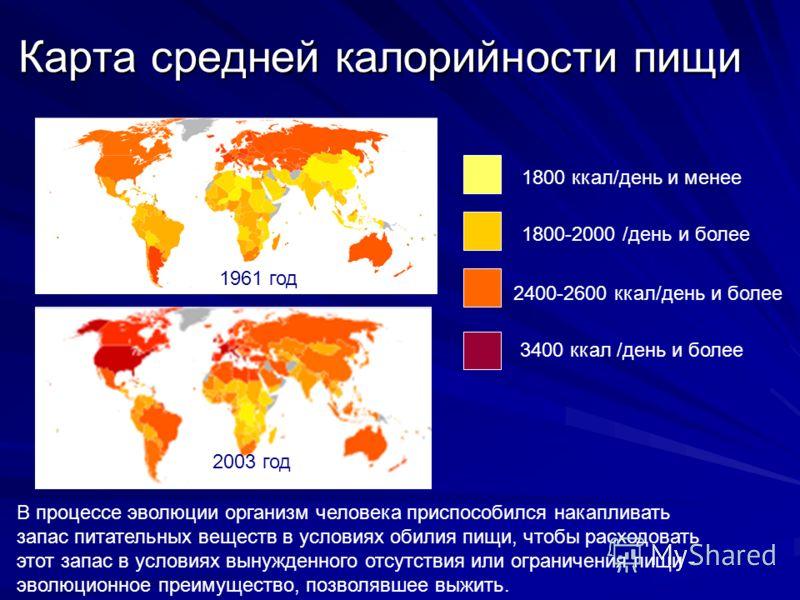 Карта средней калорийности пищи 1961 год 2003 год 1800 ккал/день и менее 2400-2600 ккал/день и более 3400 ккал /день и более 1800-2000 /день и более В процессе эволюции организм человека приспособился накапливать запас питательных веществ в условиях