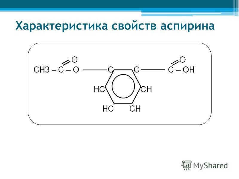 Характеристика свойств аспирина