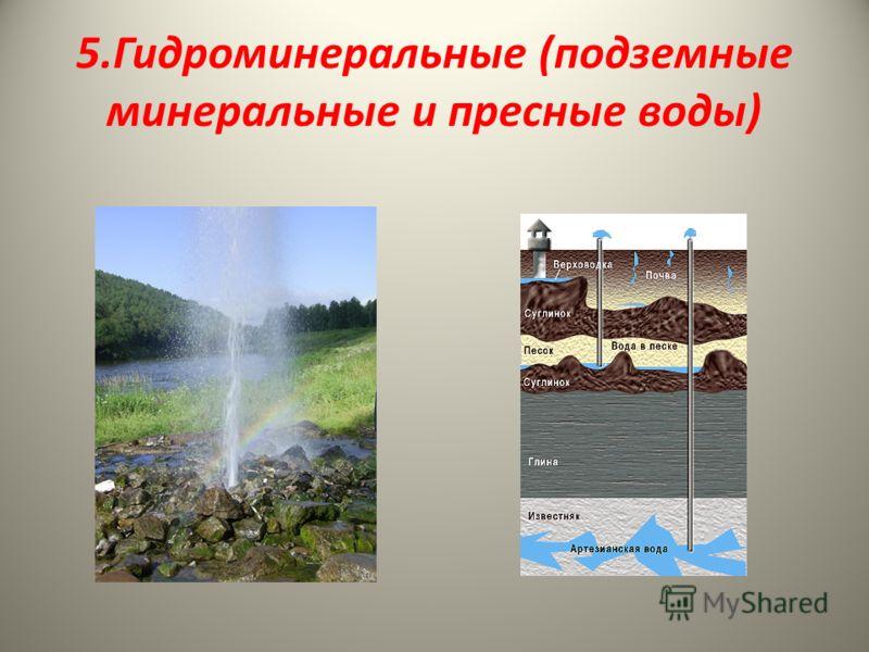 5.Гидроминеральные (подземные минеральные и пресные воды)