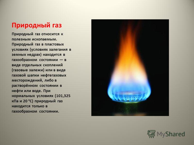 Природный газ Природный газ относится к полезным ископаемым. Природный газ в пластовых условиях (условиях залегания в земных недрах) находится в газообразном состоянии в виде отдельных скоплений (газовые залежи) или в виде газовой шапки нефтегазовых