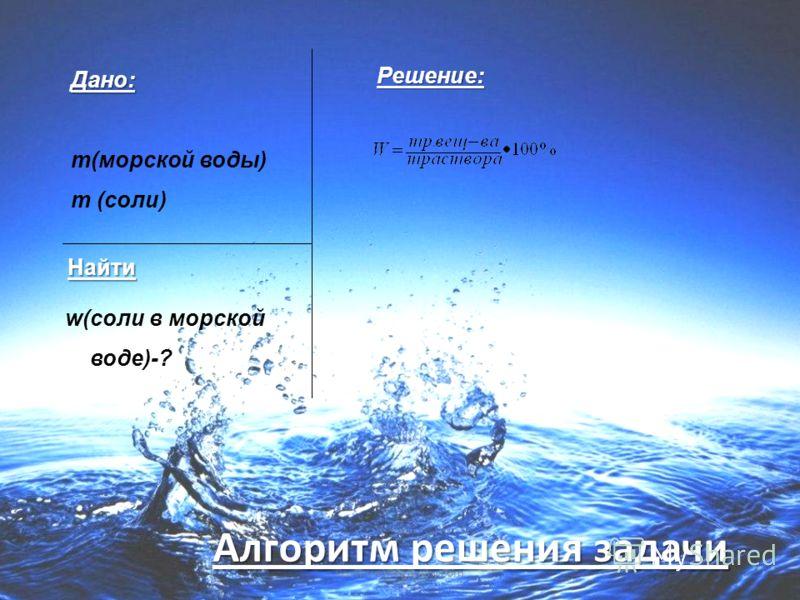 www.themegallery.com Дано: m(морской воды) m (соли) w(соли в морской воде)-? Решение: Алгоритм решения задачи Найти