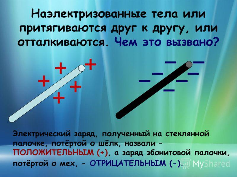 Наэлектризованные тела или притягиваются друг к другу, или отталкиваются. Чем это вызвано? Электрический заряд, полученный на стеклянной палочке, потёртой о шёлк, назвали – ПОЛОЖИТЕЛЬНЫМ (+), а заряд эбонитовой палочки, потёртой о мех, - ОТРИЦАТЕЛЬНЫ