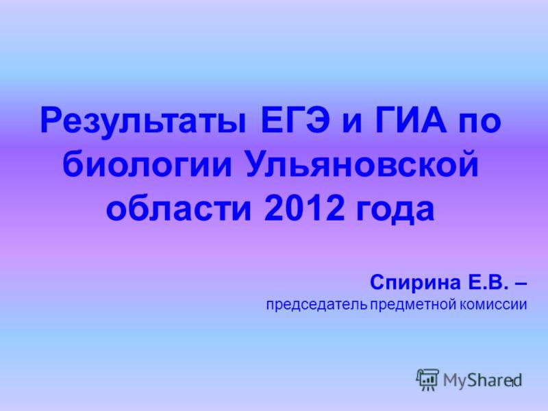 1 Результаты ЕГЭ и ГИА по биологии Ульяновской области 2012 года Спирина Е.В. – председатель предметной комиссии