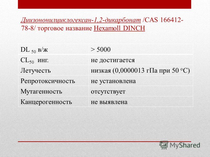 Диизононилциклогексан-1,2-дикарбонат /CAS 166412- 78-8/ торговое название Hexamoll DINCH DL 50 в/ж> 5000 CL 50 инг.не достигается Летучестьнизкая (0,0000013 гПа при 50 о С) Репротоксичностьне установлена Мутагенностьотсутствует Канцерогенностьне выяв