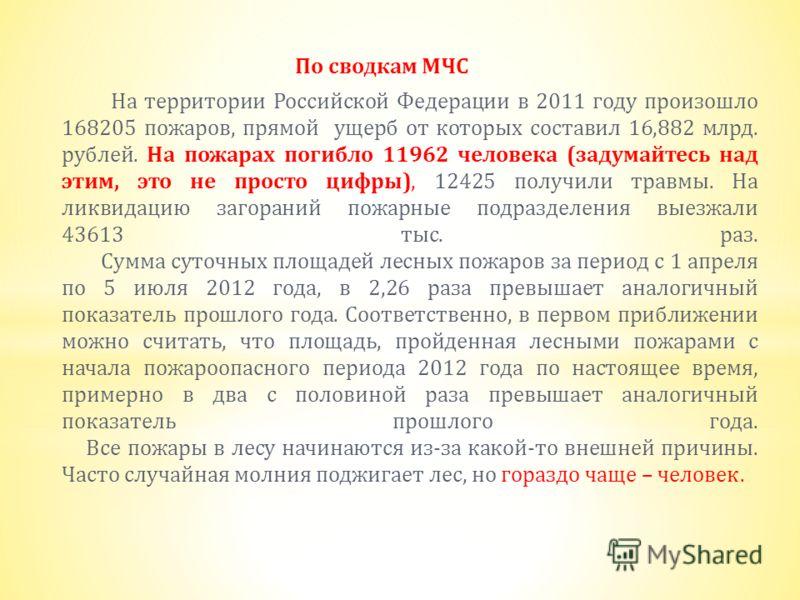 По сводкам МЧС На территории Российской Федерации в 2011 году произошло 168205 пожаров, прямой ущерб от которых составил 16,882 млрд. рублей. На пожарах погибло 11962 человека ( задумайтесь над этим, это не просто цифры ), 12425 получили травмы. На л
