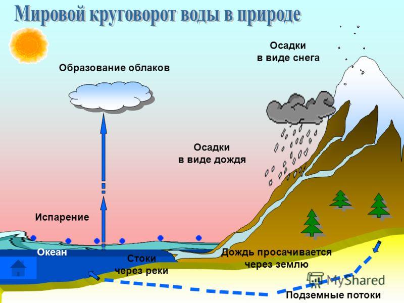 Осадки в виде снега Образование облаков Осадки в виде дождя Дождь просачивается через землю Стоки через реки Подземные потоки Океан Испарение