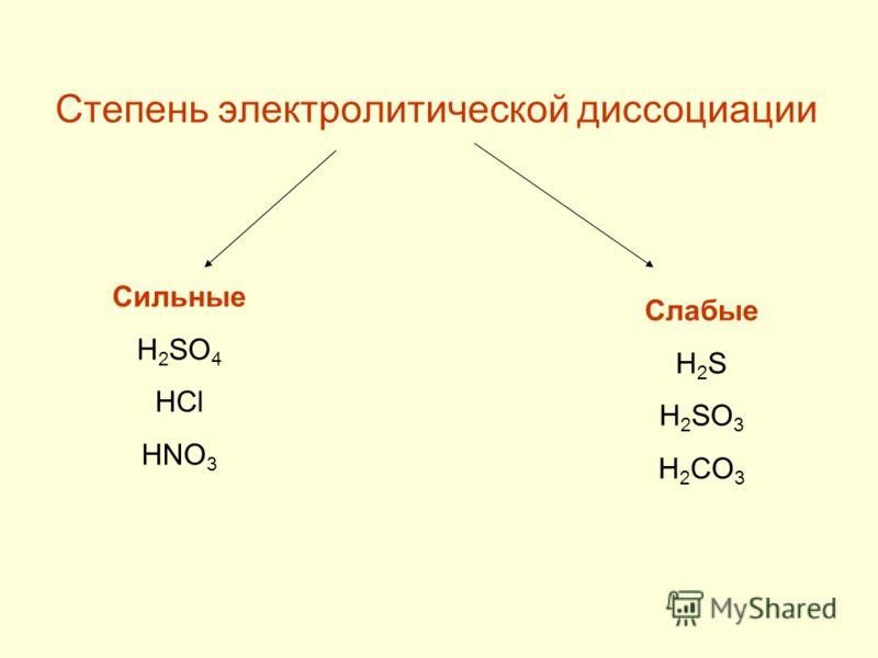 Степень электролитической диссоциации Сильные H 2 SO 4 HCl HNO 3 Слабые H 2 S H 2 SO 3 H 2 CO 3