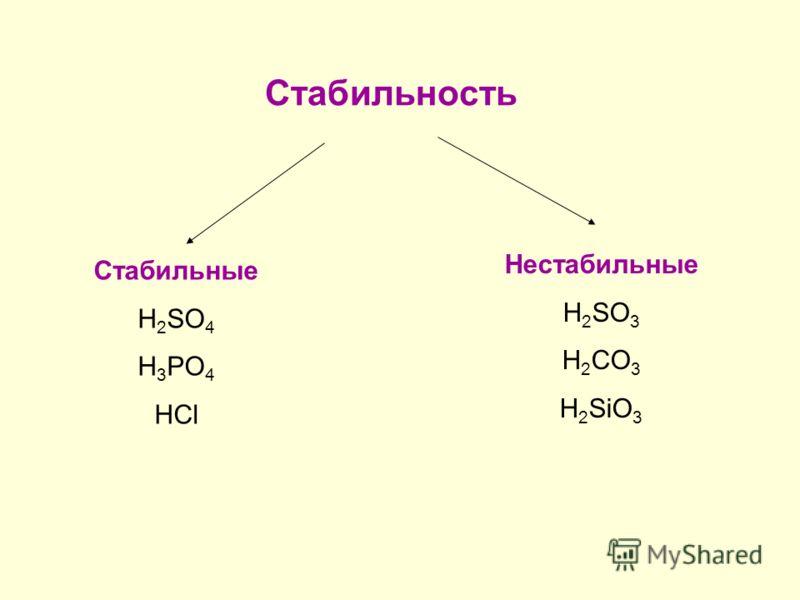 Стабильность Стабильные H 2 SO 4 H 3 PO 4 HCl Нестабильные H 2 SO 3 H 2 CO 3 H 2 SiO 3