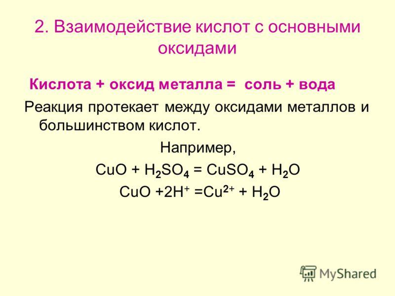 2. Взаимодействие кислот с основными оксидами Кислота + оксид металла = соль + вода Реакция протекает между оксидами металлов и большинством кислот. Например, CuO + H 2 SO 4 = CuSO 4 + H 2 O CuO +2H + =Cu 2+ + H 2 O