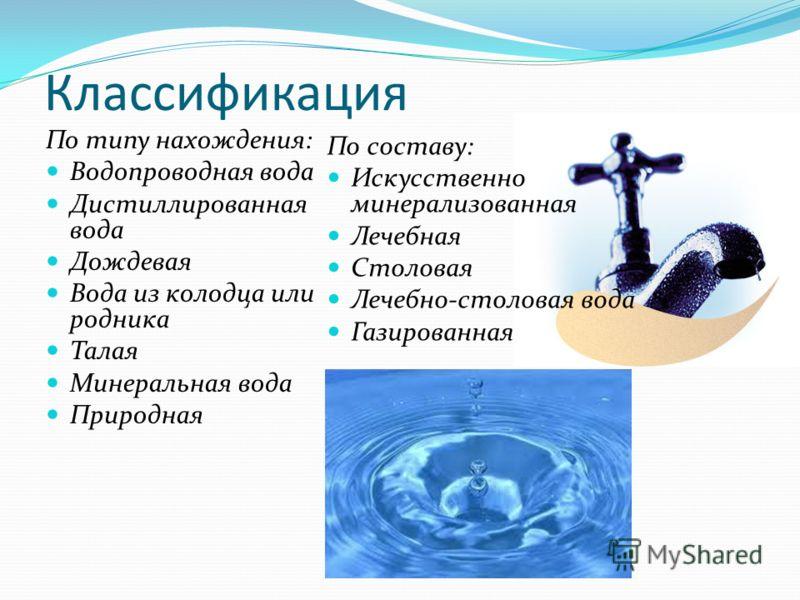 Классификация По типу нахождения: Водопроводная вода Дистиллированная вода Дождевая Вода из колодца или родника Талая Минеральная вода Природная По составу: Искусственно минерализованная Лечебная Столовая Лечебно-столовая вода Газированная