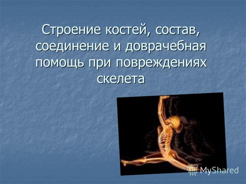 Строение костей, состав, соединение и доврачебная помощь при повреждениях скелета